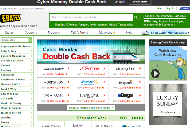 Earn Cash back on #cybermonday with Ebates