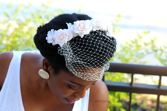 Natural Hair Style for Brides with a Fascinator