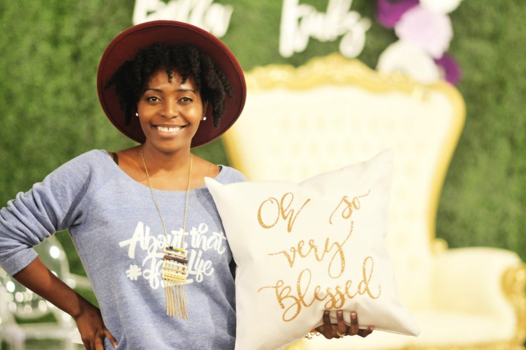 VeePeeJay with Inspirational Pillow & About That Faith Life Sweatshirt from Ven & Rose